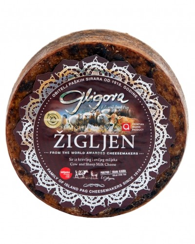Zigljen cheese aged in pressed olive skins