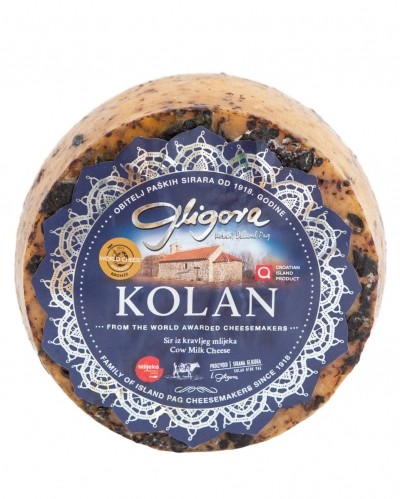 Kolan cheese aged in pressed wine grapes