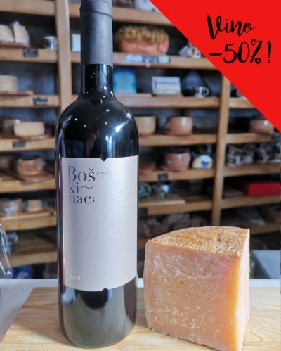 HOT! Pag cheese extra old 12m (1/4) + Boškinac Cuvee GCS wine