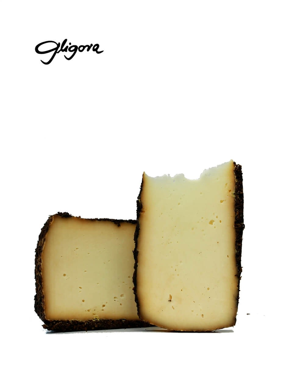 Kozlar cheese aged in pressed olive skins
